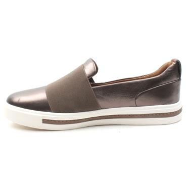 CLARKS UN MAUI STEP SLIP ON SHOE - PEWTER D