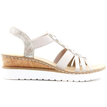 RIEKER V3822 WEDGE SANDAL - ROSE