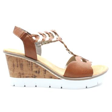 RIEKER V55H4 WEDGE SANDAL - Tan