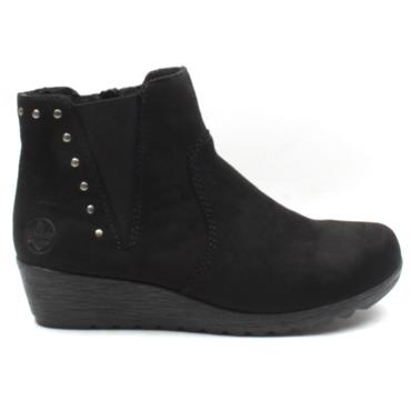RIEKER X2460 WEDGE BOOT - BLACK SUEDE