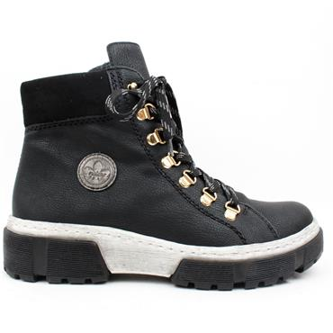RIEKER X8633 LACED BOOT - BLACK/WHITE