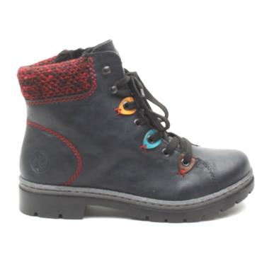 RIEKER Y9433 LACED ANKLE BOOT - NAVY MULTI