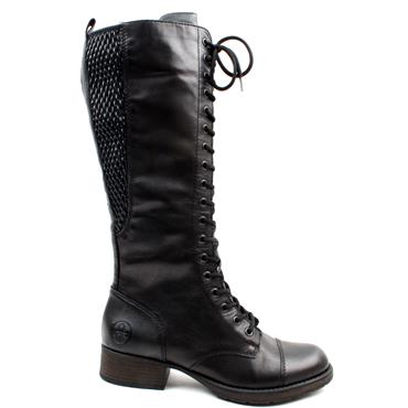 RIEKER Z9542 LACED KNEE HIGH  BOOT - Black
