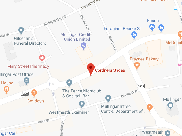 Cordners Shoes Mullingar location map