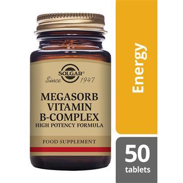 Solgar Megasorb Vitamin B-Complex High Potency Tablets 50 pack