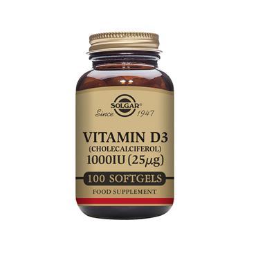 Solgar Vitamin D3 1000 IU (25 µg) Softgels 100