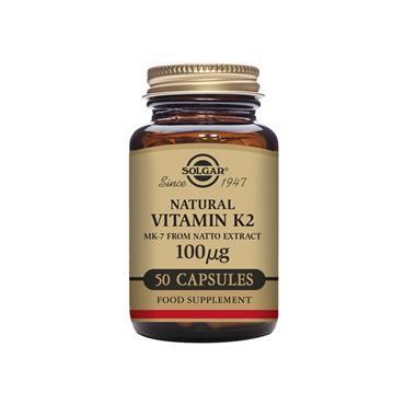 Solgar Natural Vitamin K2 (MK-7) 100 µg  Vegetable Capsules 50 pack
