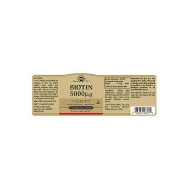 Solgar Biotin 5000 µg Vegetable Capsules 50 pack