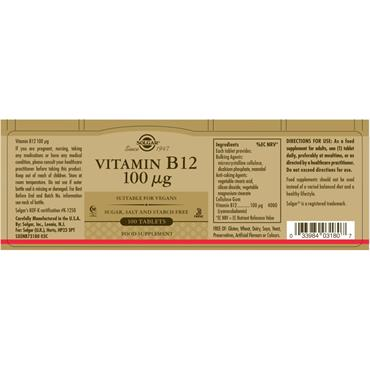 Solgar Vitamin B12 100 ug Tablets 100