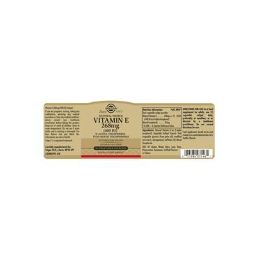 Solgar Natural Source Vitamin E 268 mg (400 IU) Vegetable Softgels 50 pack