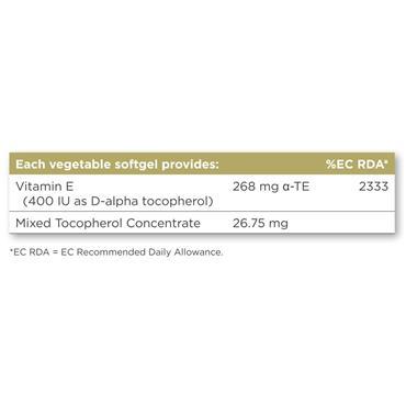 Solgar Natural Source Vitamin E 268 mg (400 IU) Vegetable Softgels 100