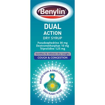 Benylin Dual Action Dry Syrup 125ml