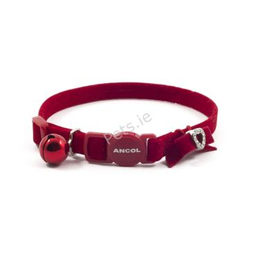 Safety Velvet Heart Red Cat Collar