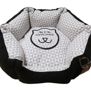 Cozy Hexagon Cat Bed Black & Brown
