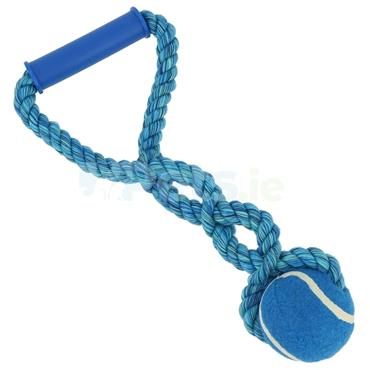 Playing Rope with Tennis Ball and Handle - Blue