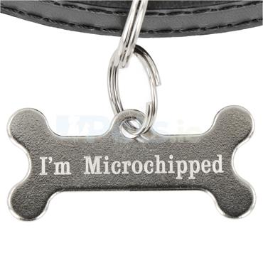 ID Tag - Silver Bone - Microchipped