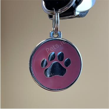 ID Tag - Paw - Pink - Large
