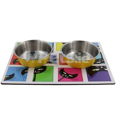 Magnetic Mat with Bowls - Cats