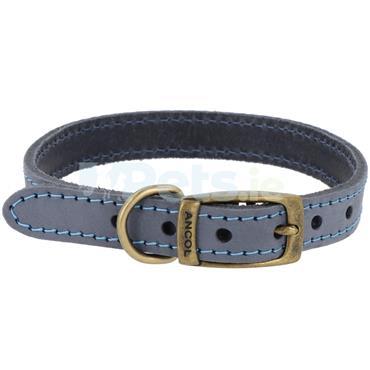 Timberwolf Leather Dog Collar Blue