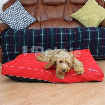 Beddies Waterproof Dog Bed Red/Grey - Mattress