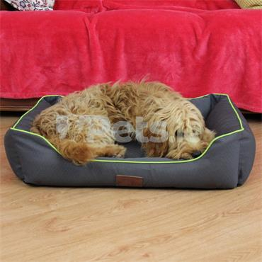 Beddies Waterproof Dog Bed Charcoal/Lime - Lounger