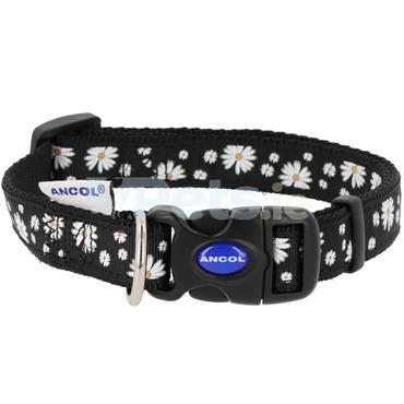 Black Daisies Dog Collar