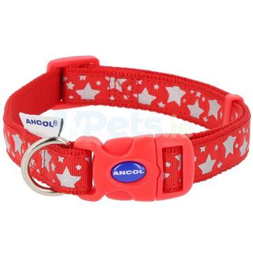 Reflective Red Stars Dog Collar