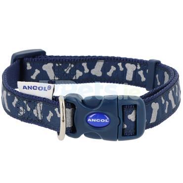 Reflective Blue Bones Dog Collar