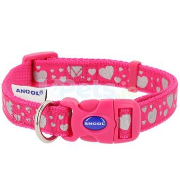 Reflective Pink Hearts Dog Collar