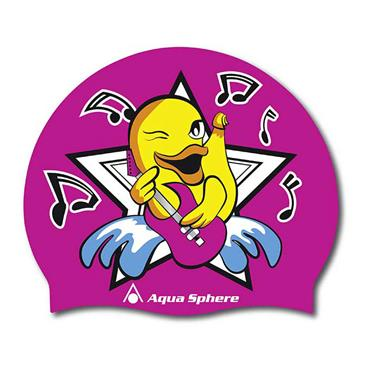 AquaSphere Duck Graphic Silicone Swim Cap | Pink