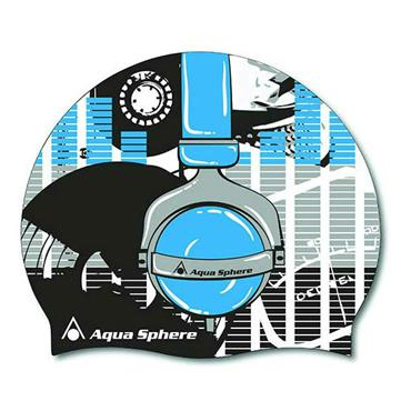 AquaSphere Headphone Graphic Silicone Swim Cap | Blue