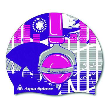 AquaSphere Headphone Graphic Silicone Swim Cap | Pink