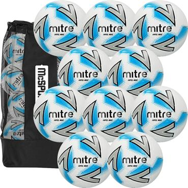 Mitre Impel Max Football 10 Ball Pack with Carry Bag | Size 5