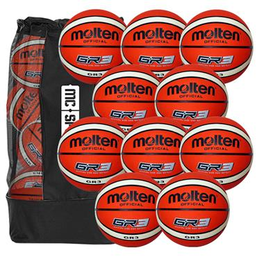 Molten GR3 Basketball Pack (10 Balls and Carry Bag)