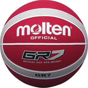 Molten Rubber Indoor/Outdoor Basketball (Red/Silver) | Size 5
