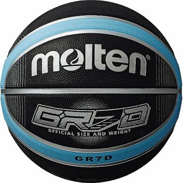Rubber Deep Channel Basketball (Black/Blue) | Size 5