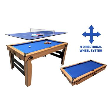 5ft Rolling Lay Flat Folding Pool with Table Tennis Top | Blue