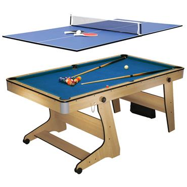 6ft Folding Pool Table with Table Tennis Top | Blue