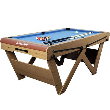 6ft Rolling Lay Flat Folding Snooker & Pool Table | Blue