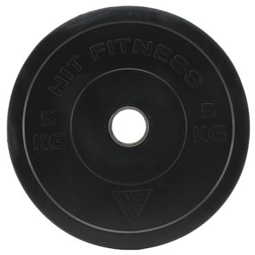 Hit Fitness 5kg Commercial Black Rubber Bumper Plate