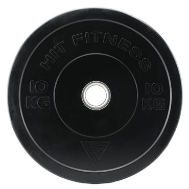 Hit Fitness 10kg Commercial Black Rubber Bumper Plate