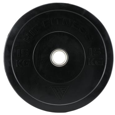 Hit Fitness 15kg Commercial Black Rubber Bumper Plate