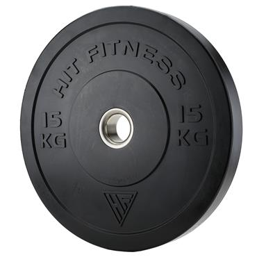 Hit Fitness Olympic Black Rubber Bumper Plate | 15kg
