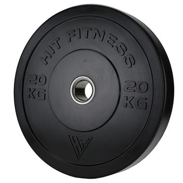 Hit Fitness 20kg Commercial Black Rubber Bumper Plate