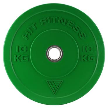 Hit Fitness 10kg Commercial Coloured Rubber Bumper Plate