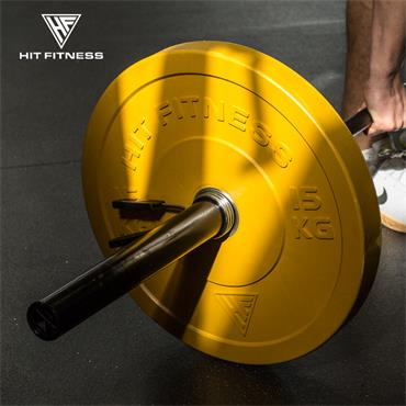 Hit Fitness Coloured Olympic Rubber Bumper Plate   15kg