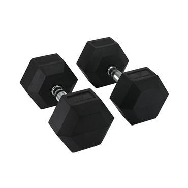 Hit Fitness Rubber Hex Dumbbells | 17.5kg