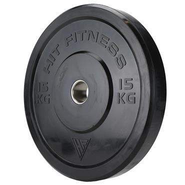 Hit Fitness Olympic Rubber Bumper Plate (Black) | 15kg