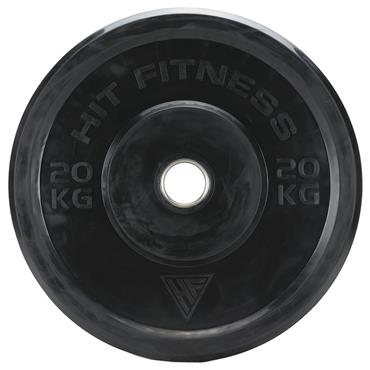 Hit Fitness 20kg Semi-Commercial Black Rubber Bumper Plate