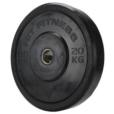 Hit Fitness Olympic Rubber Bumper Plate (Black) | 20kg